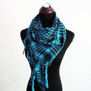 Black and Turquoise Square Houndstooth Scarf